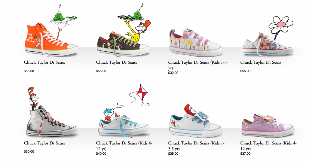 743084fdd209 Lots of different styles to choose from. Check out the Converse site  Dr  Suess ...