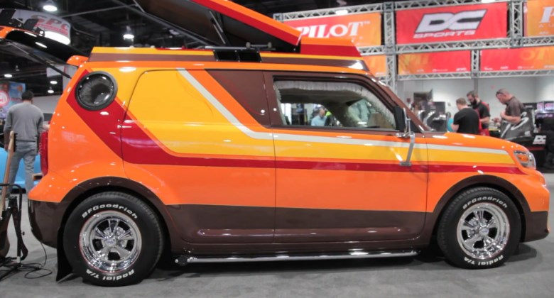 What An 8 Trac Player In A Scion? This Is One Rad Looking Scion XB Is 1970s  Inspired Conversion Van For Skaters. The Bright Orange Blimp Is A 2015 Scion  XB ...